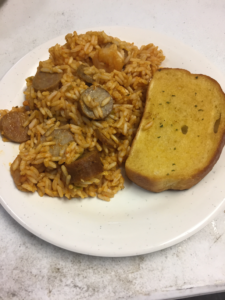 Sausage Rice Garlic Bread
